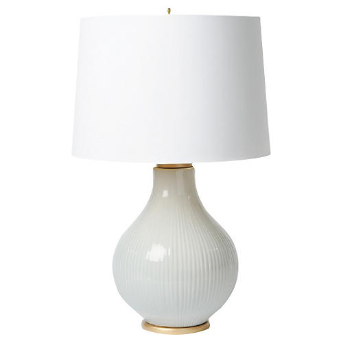 Ribbed Table Lamp, Light Blue