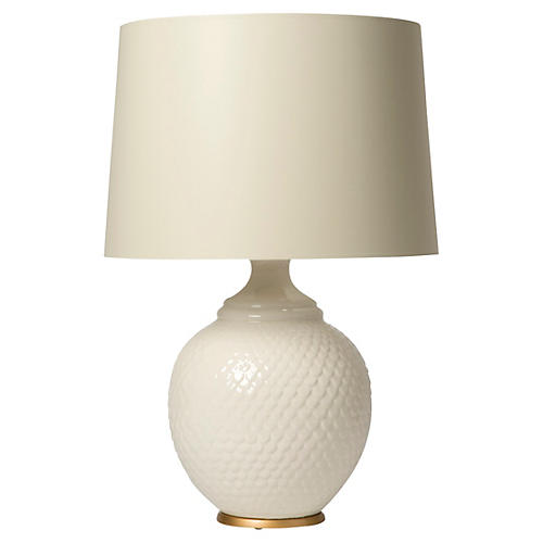Scaled Table Lamp, Ivory