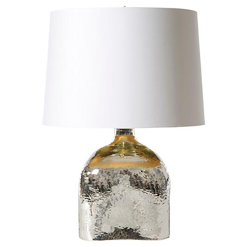 Wave Glass Table Lamp, Silver