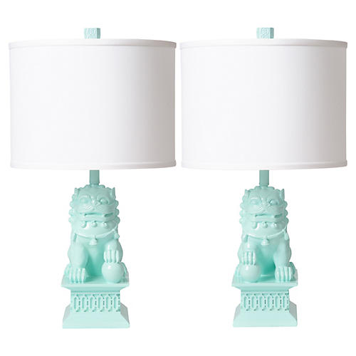 S/2 Foo Dog Table Lamps, Mint