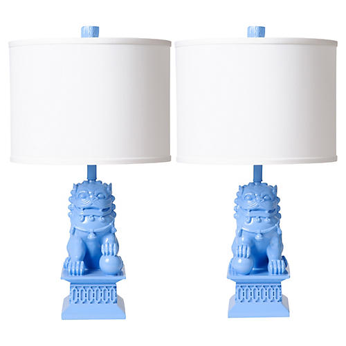 S/2 Foo Dog Table Lamps, Spa Blue