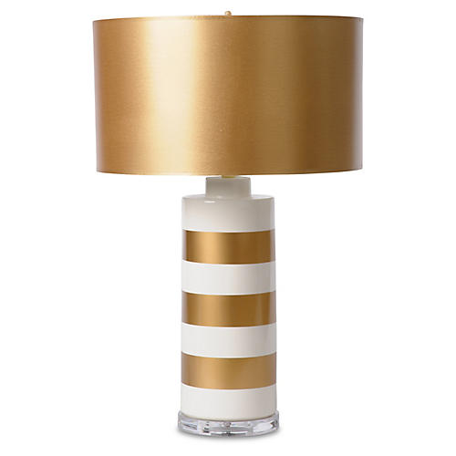 Striped Jar Table Lamp, Gold