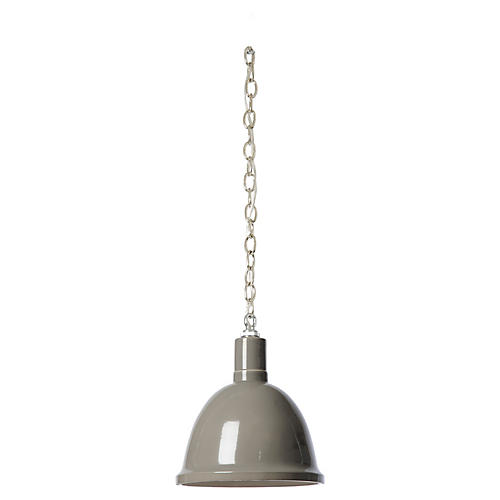 Hand-Glazed Ceramic Pendant, Gray