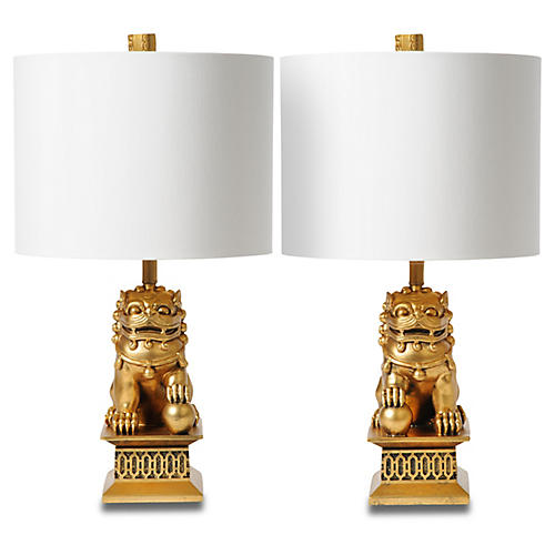 S/2 Mini Foo Dog Table Lamps, Gold Leaf