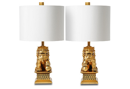 Mini Foo Dog Table Lamp Set, Gold Leaf