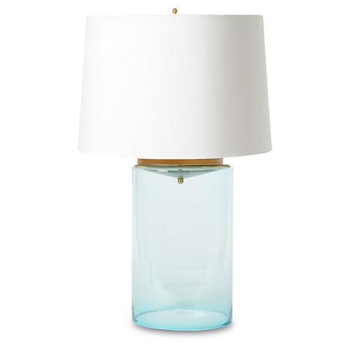 Glass Cylinder Lamp, Light Blue