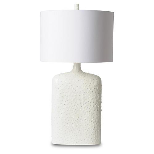 Faux-Ostrich Skin Urn Lamp, White