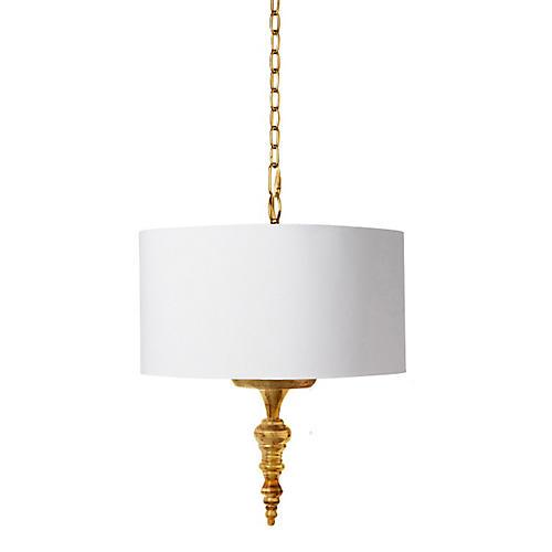Hanging Finial Pendant, Gold Leaf