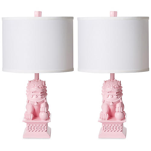 S/2 Mini Foo Dog Table Lamps, Candy Pink