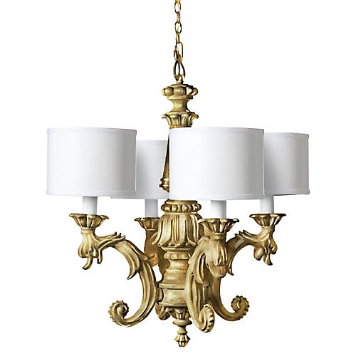 Timeless 4-Shade Chandelier, Gold Leaf