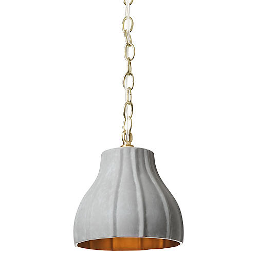 Fluted Pendant, Gray
