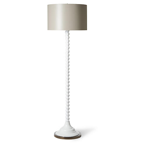 Barley-Twist Floor Lamp, Powder White