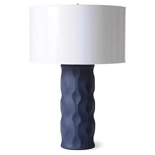 Wave Table Lamp, Matte Navy