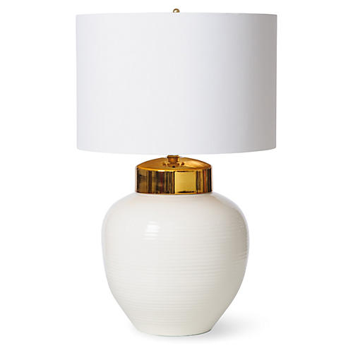 Ribbed Table Lamp, White/Gold
