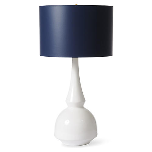 Tribal Table Lamp, White/Navy