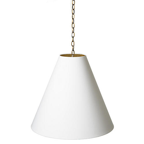 Kit 2-Light Pendant, Antiqued Brass/White