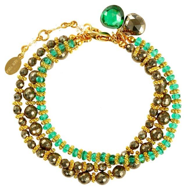 Precious Peridot & Pyrite Gem Bracelet