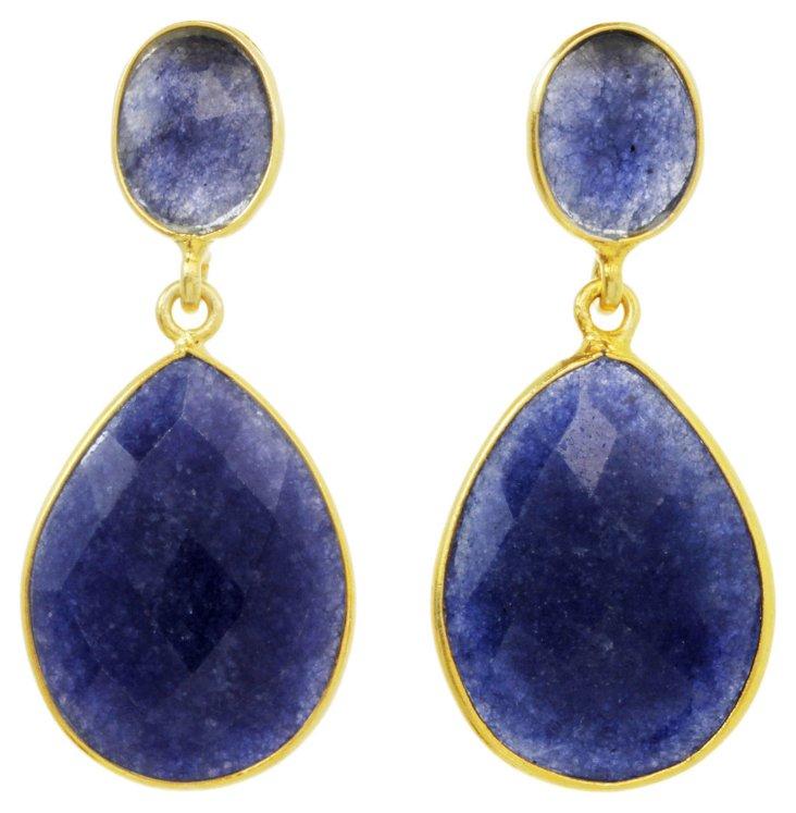 Blue Lapis Double Bezel Earrings