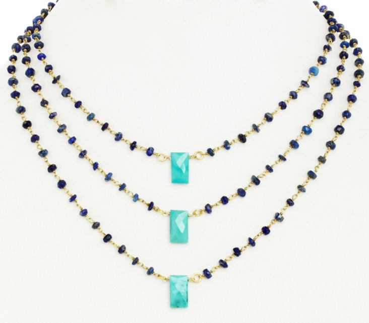 Turquoise/Blue Lapis Jeans Girl Necklace