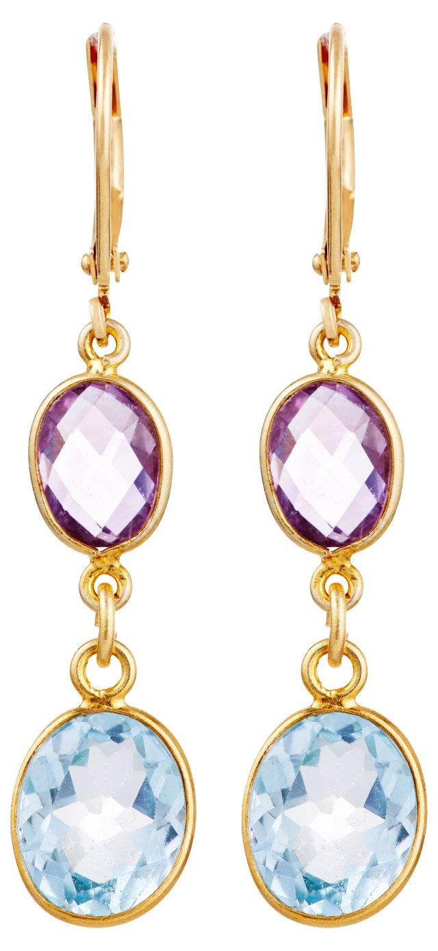 Aqua & Amethyst Bezel Drop Earrings