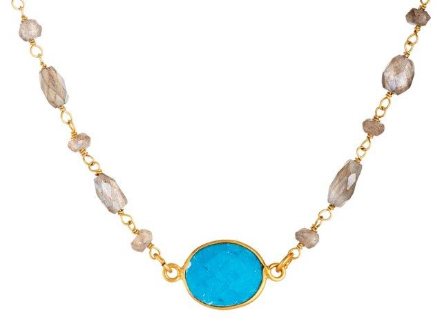Turquoise ad Labradorite Bezel Necklace