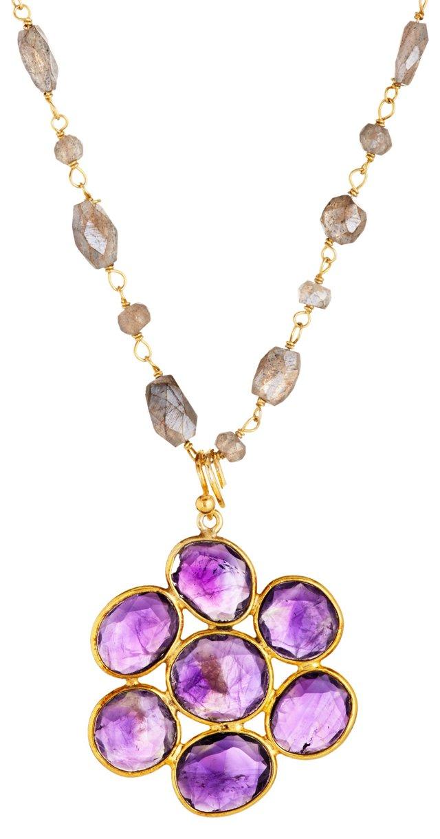 Labradorite & Amethyst Flower Necklace