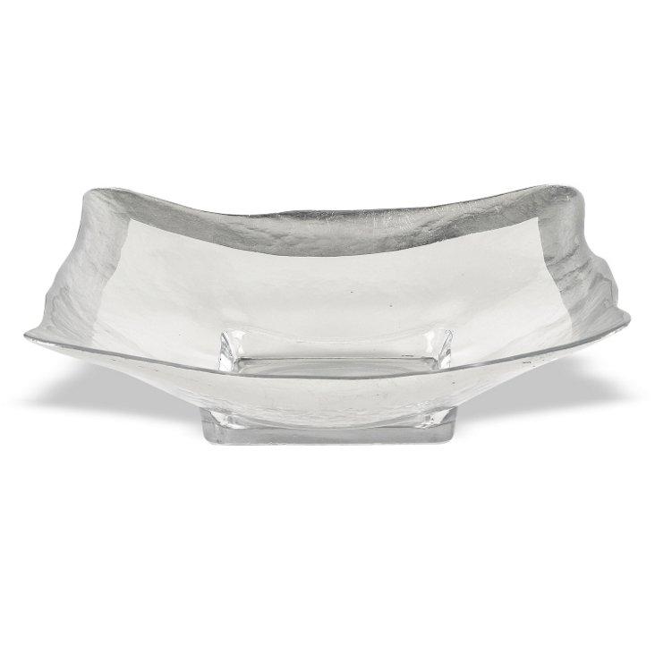 "Silver Leaf Square Bowl, 16"""