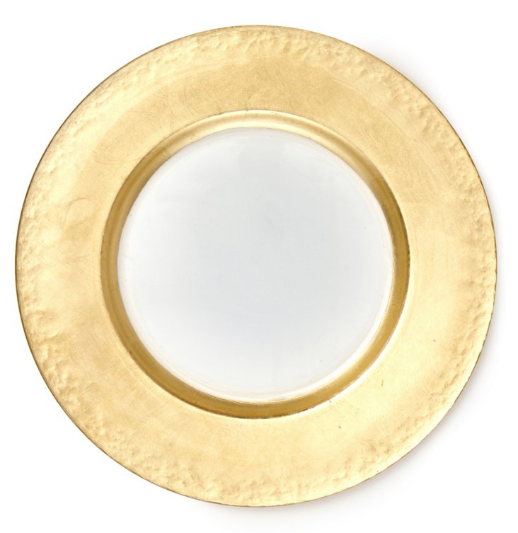 Glass Gold-Rim Round Charger