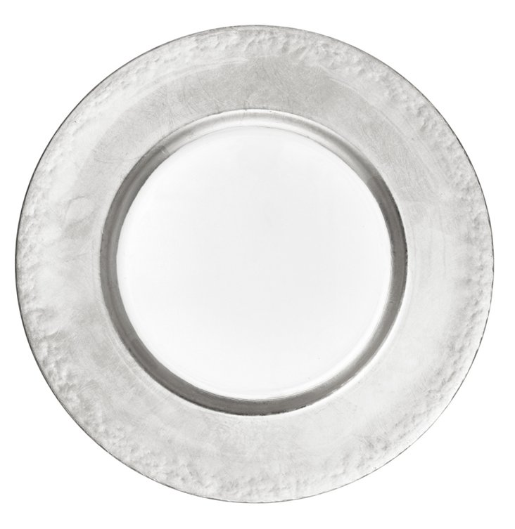 Silver Leaf Round Charger