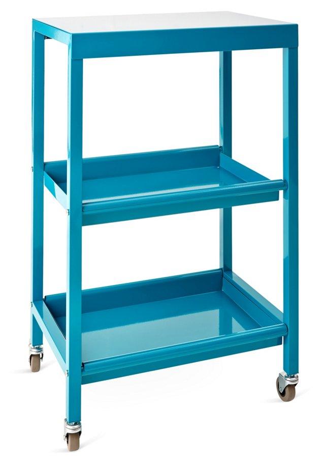 Abigail Rolling Shelf, Turquoise