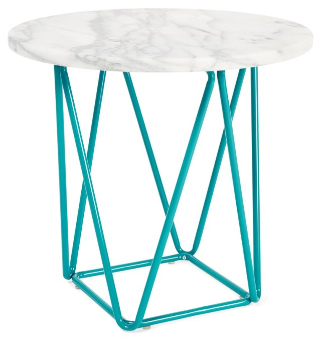 Ginny Marble Side Table, Turquoise