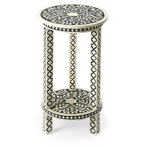 Cole Bone-Inlay Side Table, Black