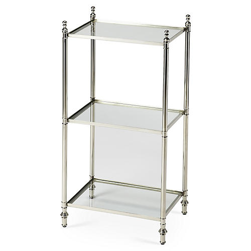 Kate Shelved Side Table, Silver