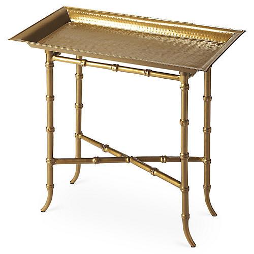 Clinton Aluminum Side Table, Gold