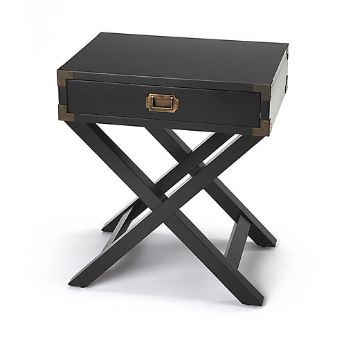 Edin Campaign Side Table, Black
