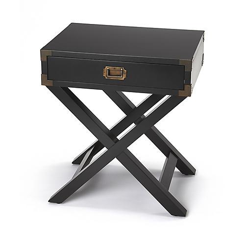 Edin Campaign Side Table, Black