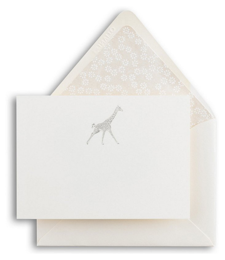 S/4 Engraved Giraffe Note Cards, Silver