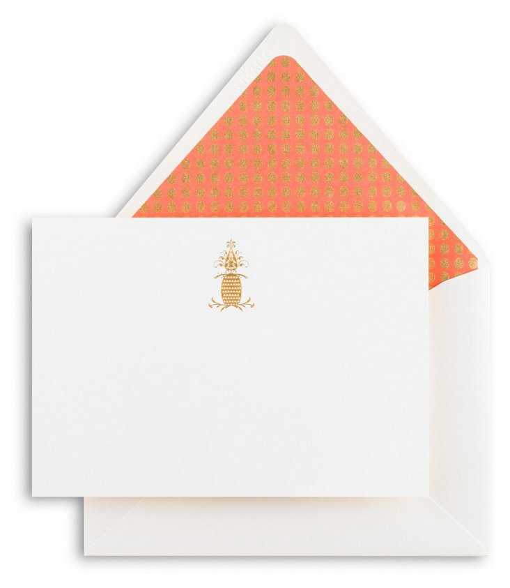 S/12 Pineapple Note Cards, Melon