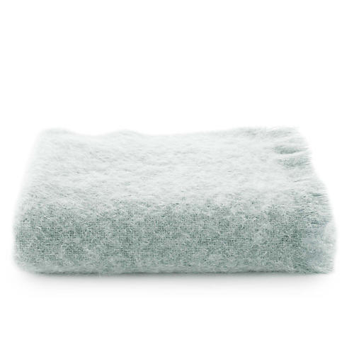 Mohair Throw, Light Blue
