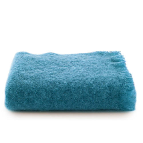 Mohair Throw, Vivid Blue