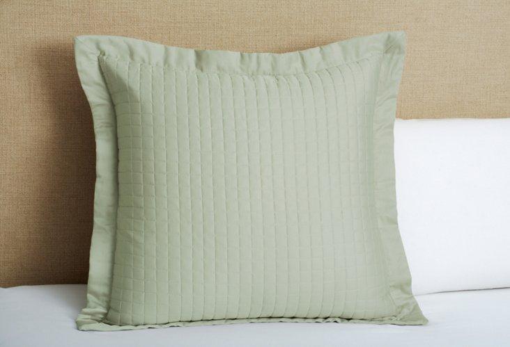 Cotton Quilted Euro Sham, Sage