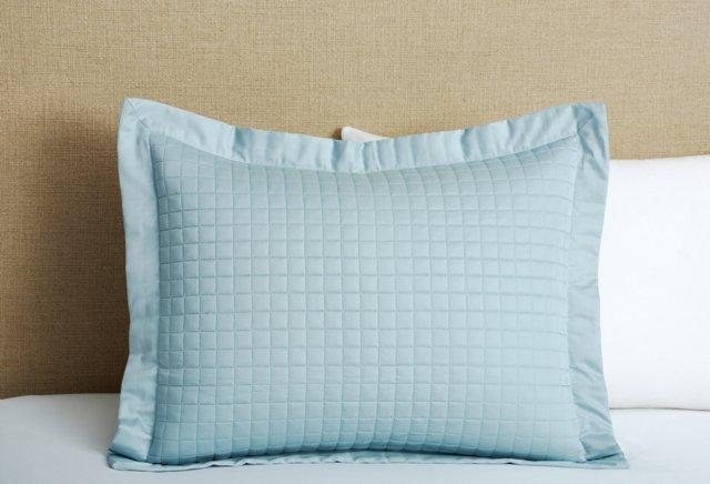 Cotton Quilted Standard Sham, Azure