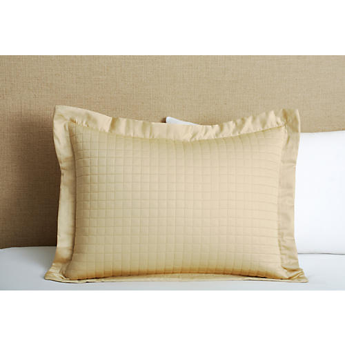 Cotton Quilted King Sham, Taupe