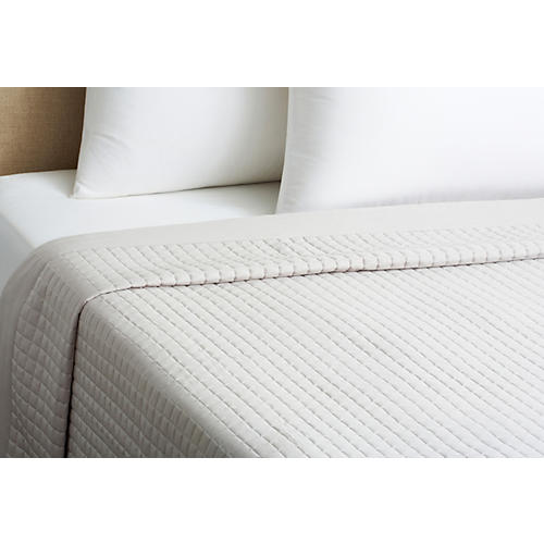 Cotton Quilted Coverlet, Dove