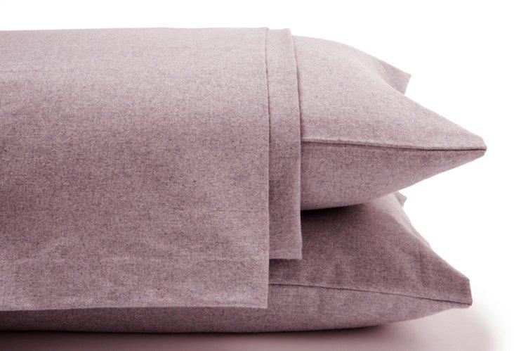 Heathered Flannel Sheet Set, Burgundy