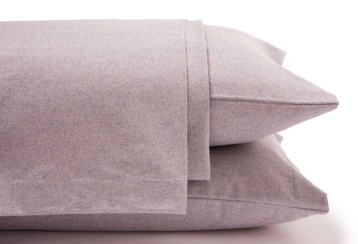 Heather Flannel Sheet Set, Lilac