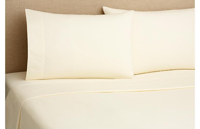 220TC Percale Queen Sheet Set, Cream