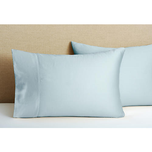 S/2 Hem Stitch Pillowcases, Azure