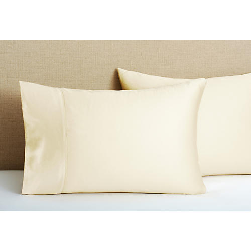 S/2 Hem Stitch Pillowcases, Champagne