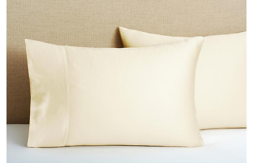 S/2 Hem Stitch Pillowcases, Champagne